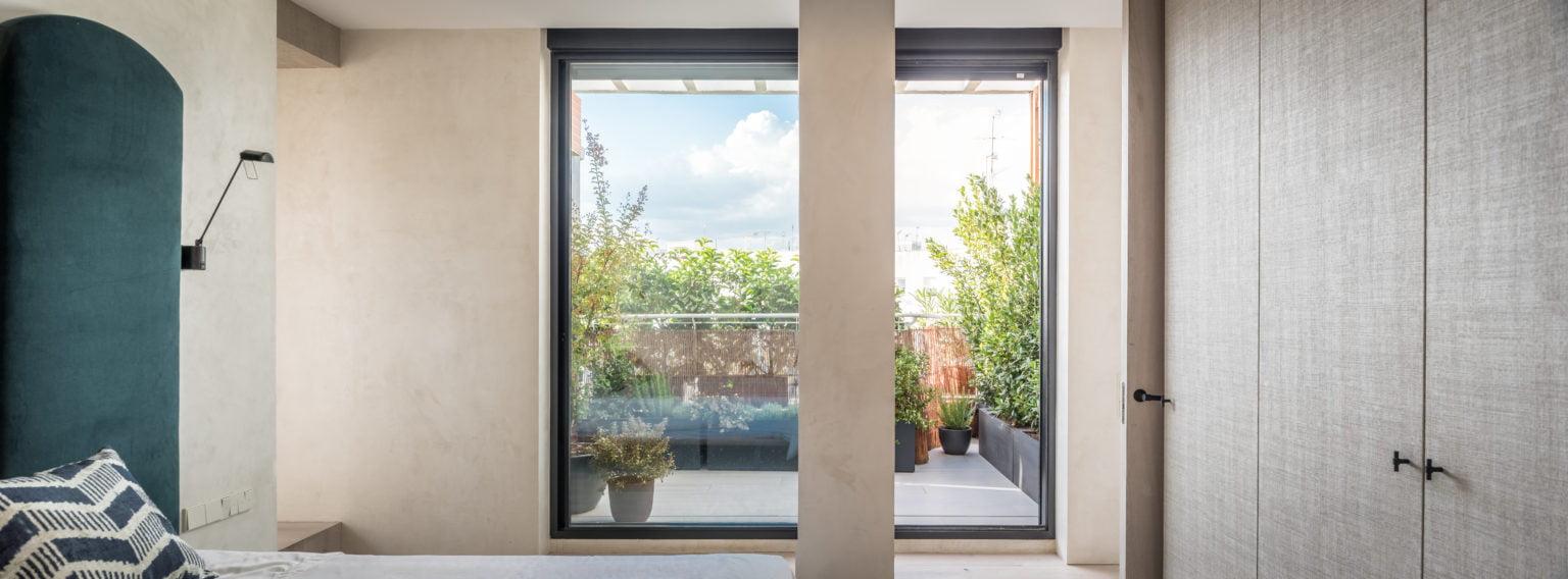 Proyecto de paisajismo, vistas desde el interior a la terraza, Madrid